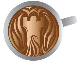 Fortified cup with coffee icon