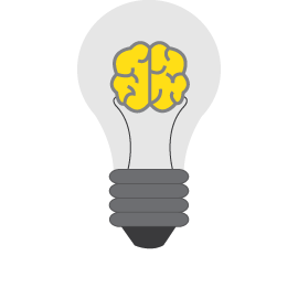 Lamp with brain icon