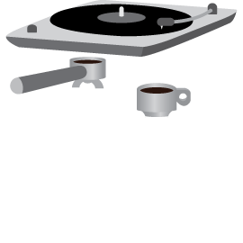 Vinil player and coffee icons